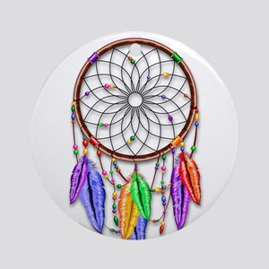 Dreamcatcher Rainbow Feathers Ornament (Round)
